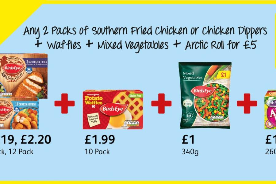Any 2 Packs of Southern Fried Chicken or Chicken Dippers + Waffles + Mixed Vegetables + Arctic Roll for £5 at Londis