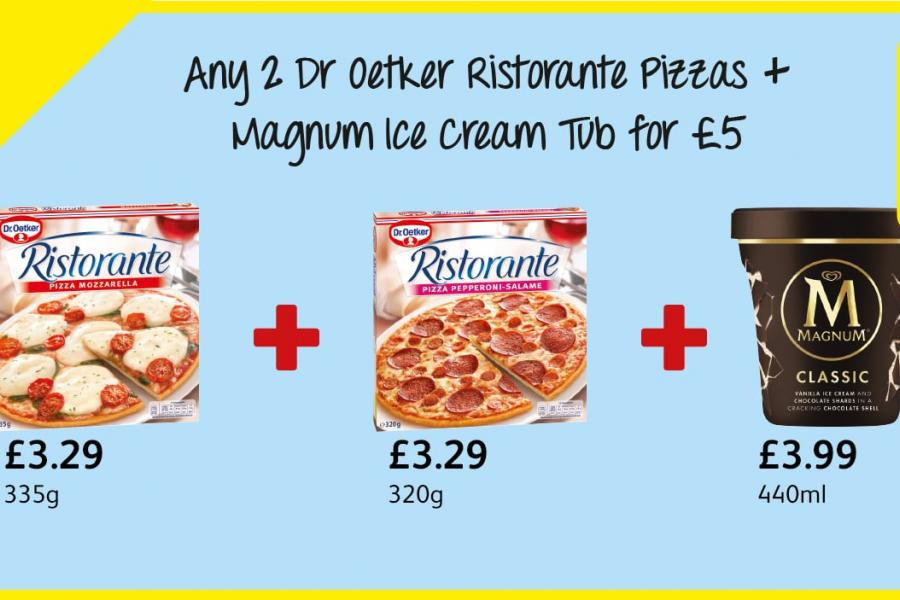Any 2 Dr Oetker Ristorante Pizzas + Magnum Ice Cream Tub for £5