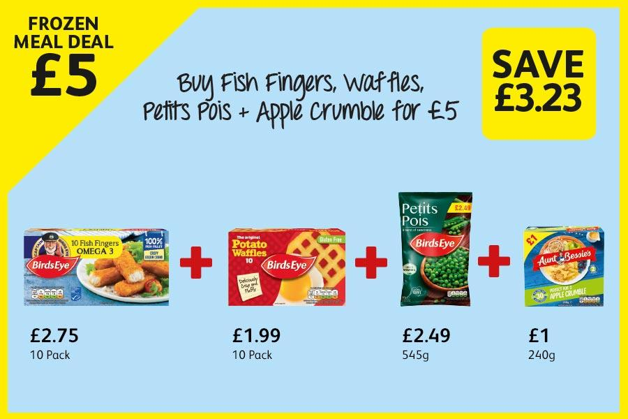 Buy Fish Fingers, Waffles, Petits Pois + Apple Crumble for £5 at Londis