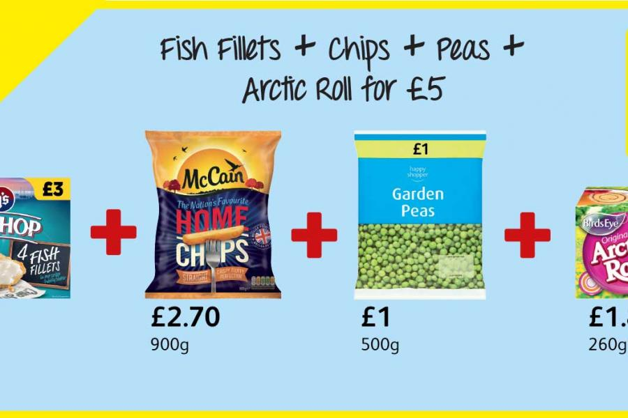 Frozen Meal Deal - Fish Fillets + Chips + Peas + Arctic Roll for £5 at Londis