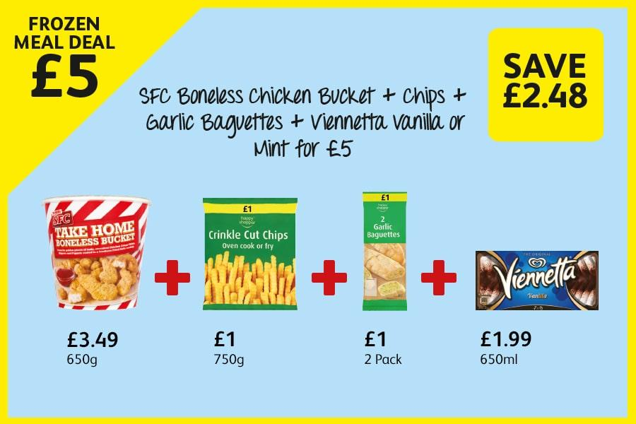 SFC Boneless Chicken Bucket + Chips + Garlic Baguettes + Viennetta Vanilla or Mint for £5 at Londis