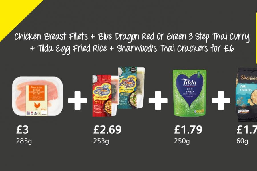 Chicken Breast Fillets + Blue Dragon Red Or Green 3 Step Thai Curry + Tilda Egg Fried Rice + Sharwood's Thai Crackers for £6 at Londis