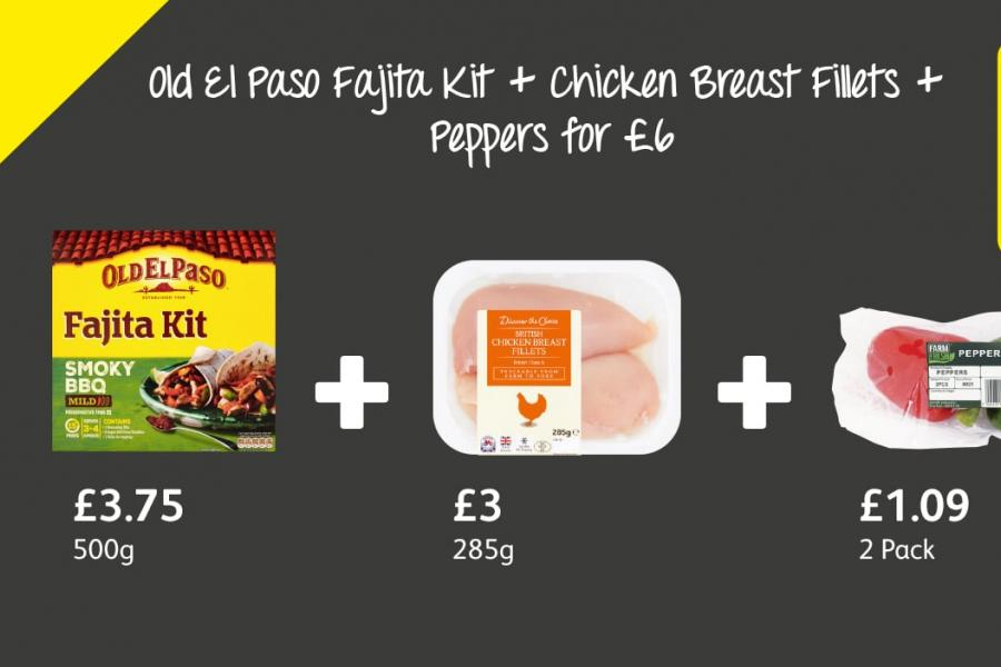 Old El Paso Fajita Kit + Chicken Breast Fillets +  Peppers for £6 at Londis