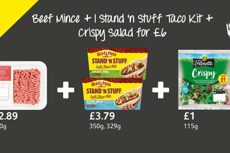 Beef Mince + 1 Stand 'n Stuff Taco Kit + Crispy Salad for £6 at Londis
