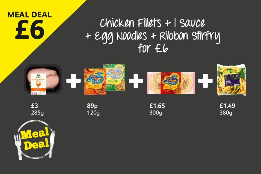 £6 Meal Deal: Chicken Fillets + 1 Sauce + Egg Noodles + Ribbon Stir Fry - £6 at Londis