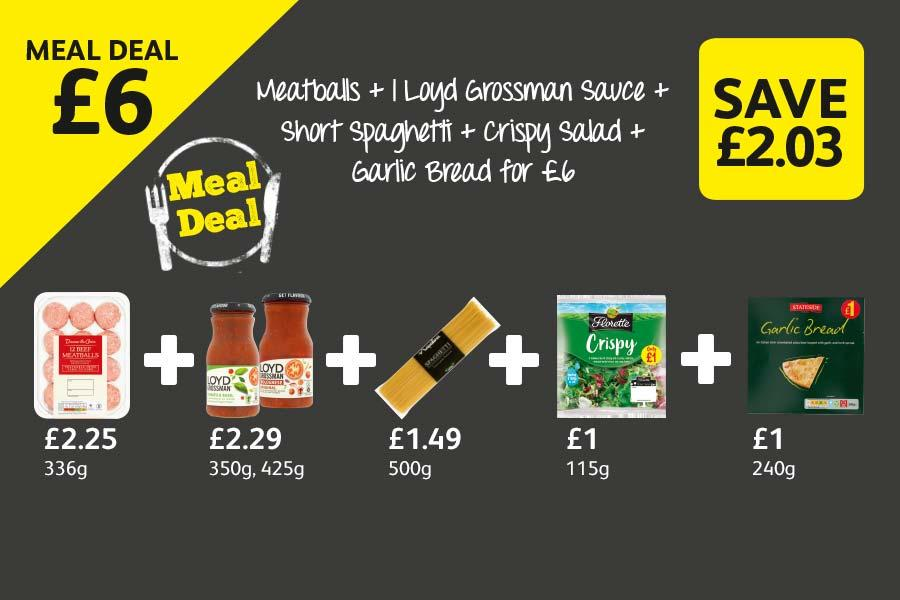 Meatballs + 1 Loyd Grossman Sauce + Short Spaghetti + Crispy Salad + Garlic Bread for £6 at Londis