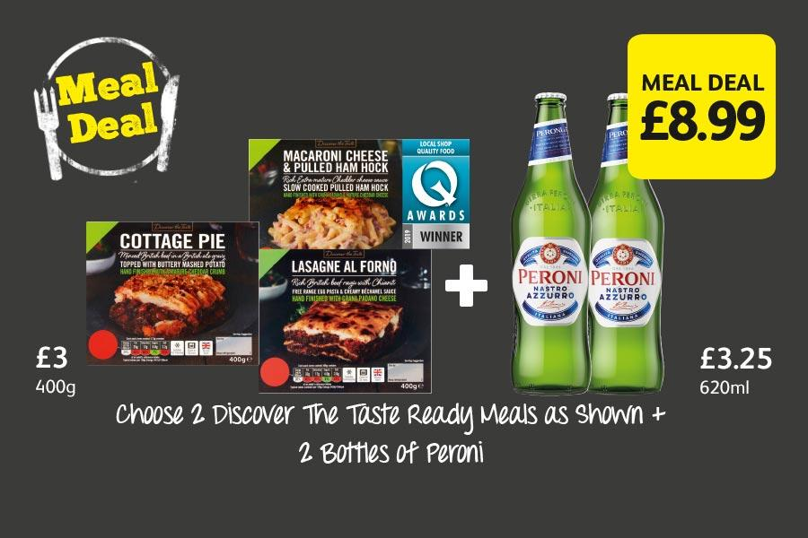 Choose 2 Discover The Taste Ready Meals as Shown + 2 Bottles of Peroni at Londis