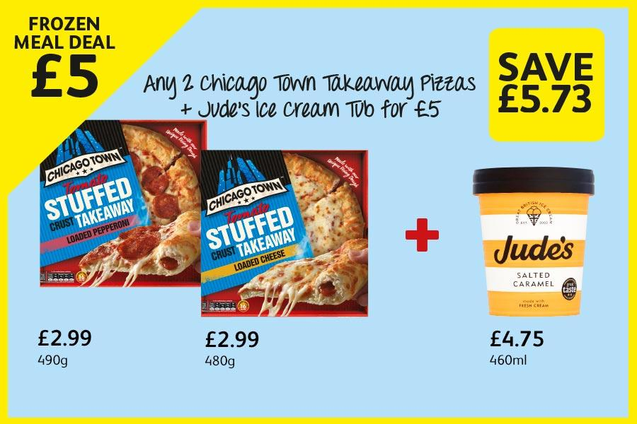 Any 2 Chicago Town Takeaway Pizzas + Jude's Ice Cream Tub for £5 at Londis