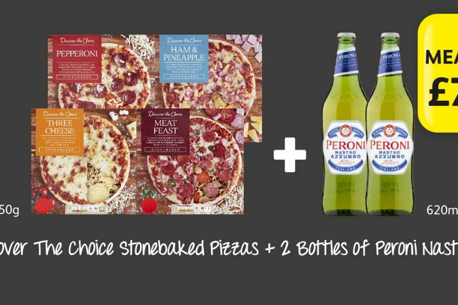 Choose 2 Discover T he Choice Stonebaked Pizzas + 2 Bottles of Peroni Nastro Azzurro at Londis
