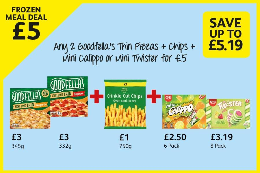 Any 2 Goodfella's Thin Pizzas + Chips + Mini Calippo or Mini Twister for £5 at Londis