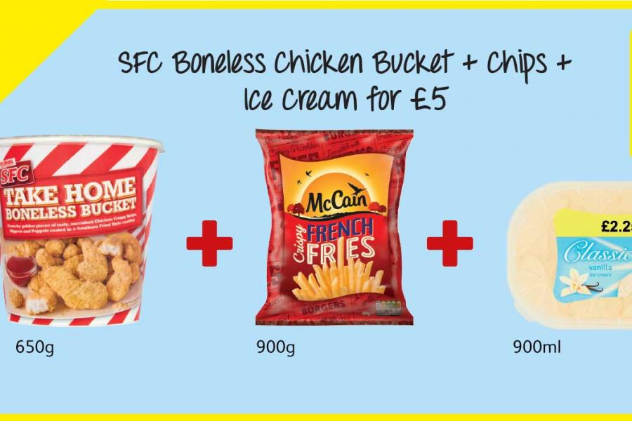 SFC Boneless Chicken Bucket + Chips + Ice Cream for £5 at Londis
