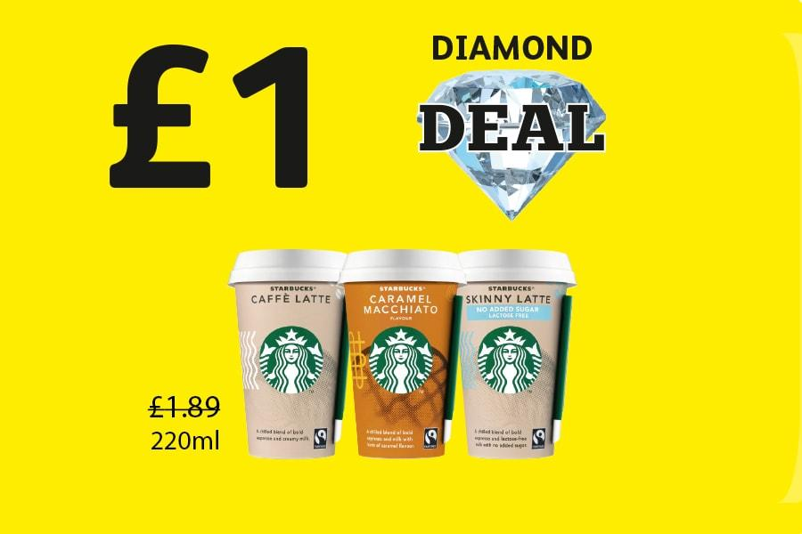 DIAMOND DEAL: Starbucks Latte, Caramel Macchiato, Skinny Late - £1 at Londis