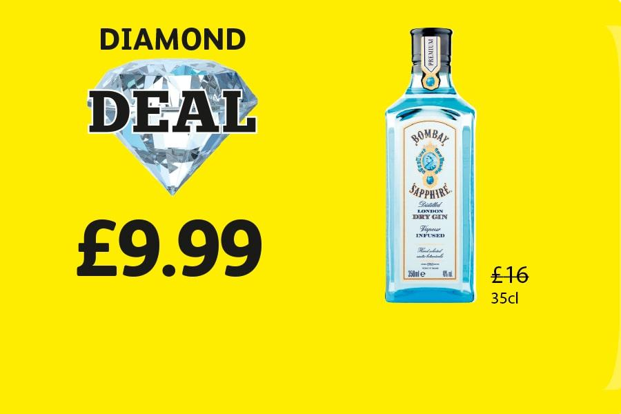 DIAMOND DEAL: Bombay Sapphire 35cl - £9.99 at Londis