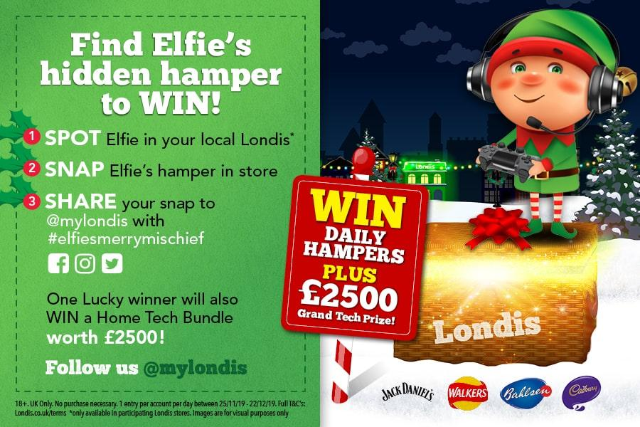 Find Elfie's hidden hamper to win at Londis