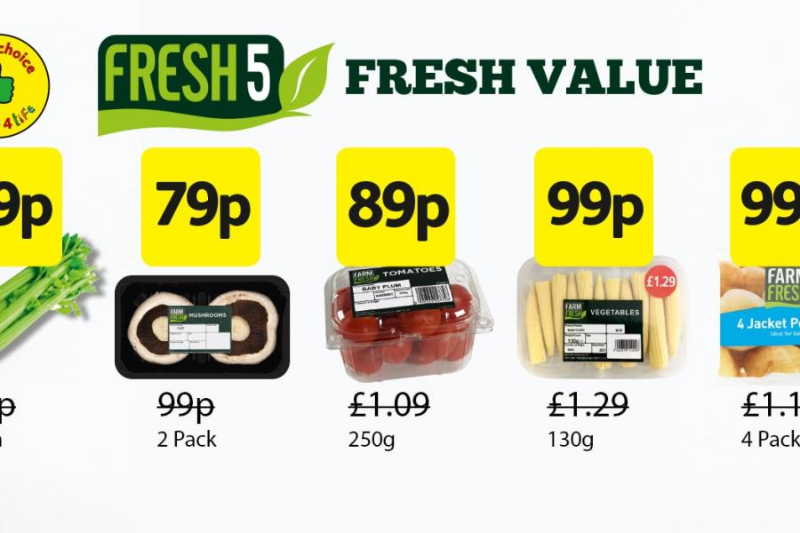 Fresh 5 Deals: Farm Fresh Celery - 79p. Mushrooms 2 pack - 79p. Tomatoes 250g -89p, Baby corn 130g - 99p. 4 Jacket Potatoes - 99p at Londis