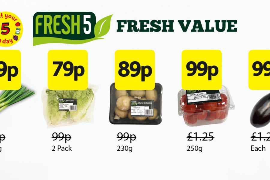 Fresh 5 Deals: Spring Onions - 59p, Lettuce - 79p, Mushrooms - 89p, Tomatoes - 99p, Aubergine - 99p at Londis