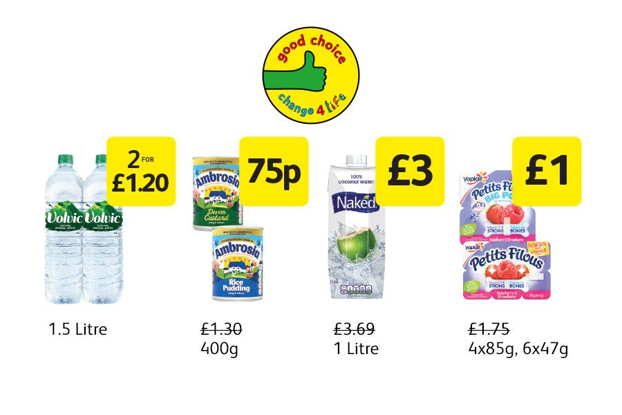 Good Choice Deals: Ambrosia Custard/Rice Pudding - 75p, Naked Coconut water - £3, Petit Filous Fromage Frais - £1 at Londis