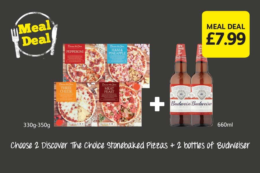 Choose 2 Discover The Choice Stonebaked Pizzas + 2 bottles of Budweiser for £7.99 at Londis