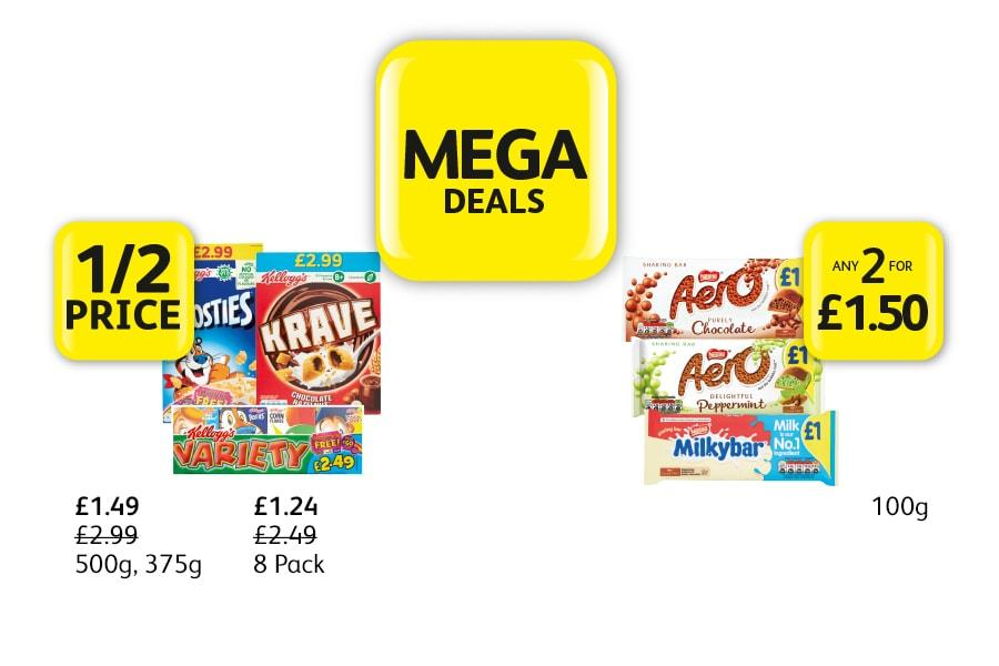 MEGA DEALS: Kelloggs Frosties, Krave, Variety - 1/2 Price, Aero, Milkybar - Any 2 for £1.50 at Londis