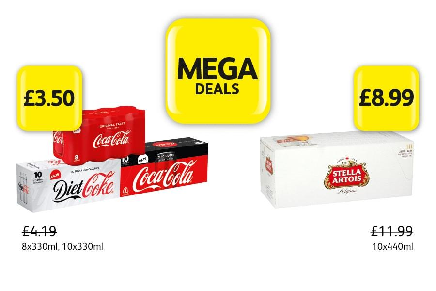 MEGA DEALS: Coca Cola Classic, Diet, Zero, 8x330ml, 10x330ml - £3.50 at Londis. Stella Artois 10x440ml - £8.99 at Londis