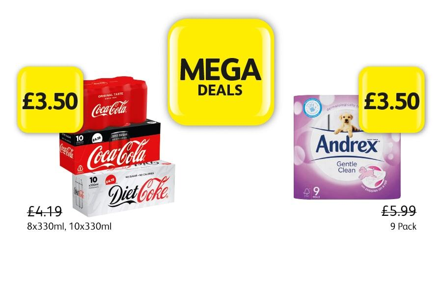 MEGA DEALS: Coca Cola Classic, Diet, Zero, 8x330ml, 10x330ml - £3.50. Andrex 9 Pack - £3.50 at Londis