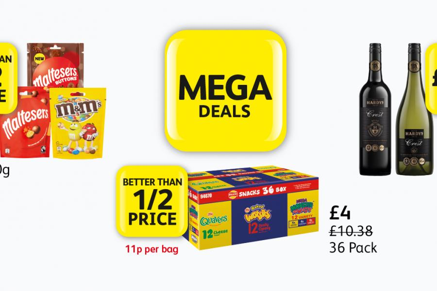 Mega Deals: Maltesers, M&M's - Better than 1/2 Price, Hardy's Crest - £5.49, Quavers, Wotsits, Monster Munch 36 box - Better than 1/2 Price at Londis