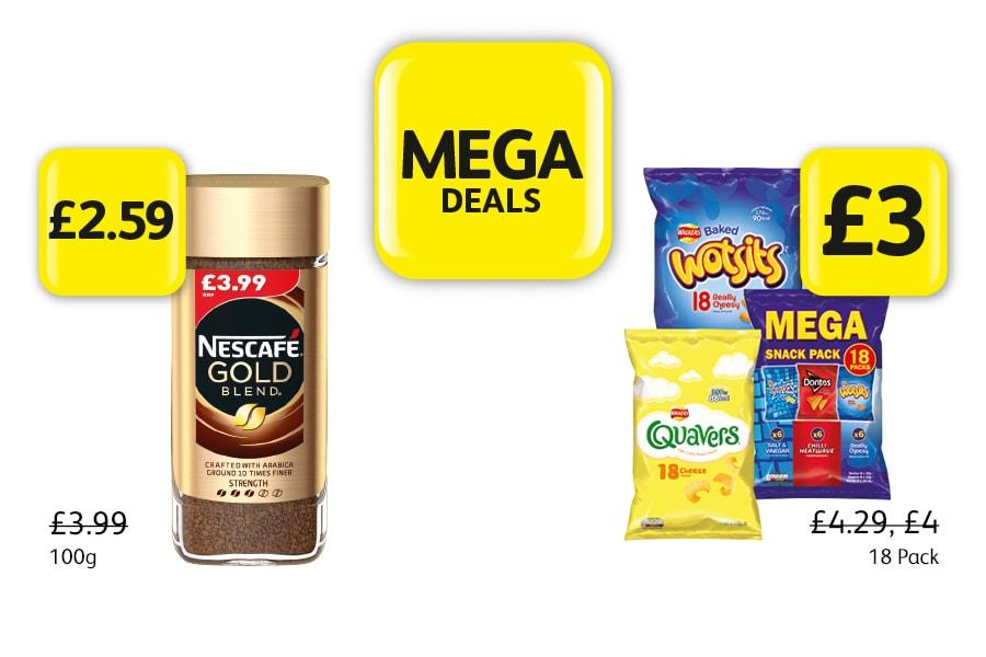 MEGA DEALS: Nescafe Gold 100g - £2.59 at Londis. Wotsits, Quavers, Mega Snack Pack, 19 Pack - £3 at Londis
