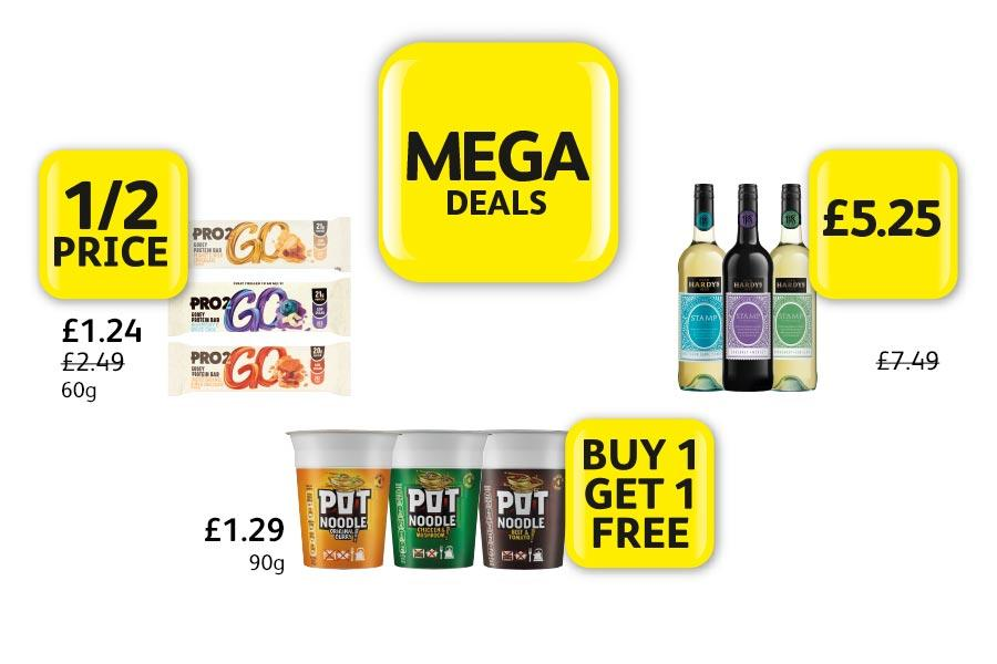 MEGA DEALS: Pro2Go Protein Bar - 1/2 Price. Pot Noodle £1.29 - Buy 1 Get 1 Free. Hardy's Stamp Wine - £5.25 at Londis