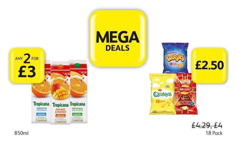 MEGA DEALS: Tropicana 850ml - Any 2 for £3. Wotsits, Quavers, Walkers 18 Pack - £2.50 at Londis