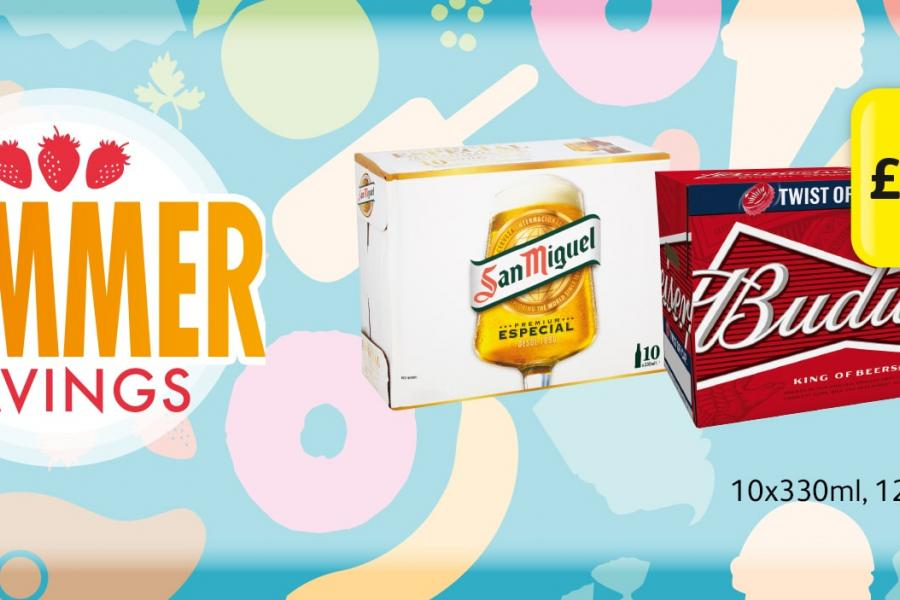 SUMMER SAVINGS: San Miguel, Budweiser 10x330ml, 12x300ml - £8.50 at Londis