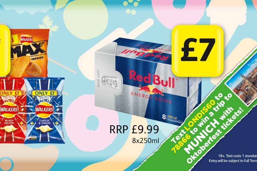 MEGA DEALS: Walkers Crisps 75g - Any 3 for £2. Red Bull 8x250ml - £7 (Text LONDIS60 to 78866 to won a trip to Munich).