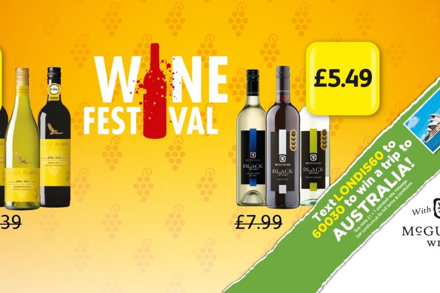 Wine Festival: Wolf Blass - £6.75. McGuigan Black Label - £5.49 At Londis