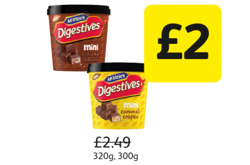 McVitie's Mini Digestives Milk Choc Tiffins, Caramel Crispies, Was £2.49 - Now Only £2 at Londis