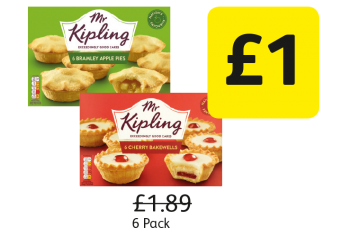 Mr Kipling Apple Pies, Cherry Bakewells, Was £1.89 - Now Only £1 at Londis