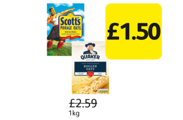 Quaker Oats, Scotts Porage Oats, Was £2.59 - Now Only £1.50 at Londis