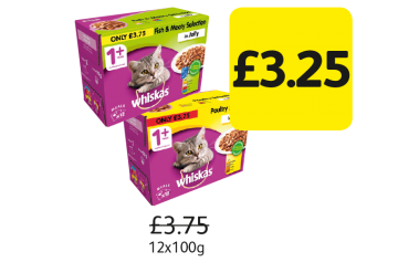 Whiskas 1+ Years,  Was £3.75 - Now Only £3.25 at Londis