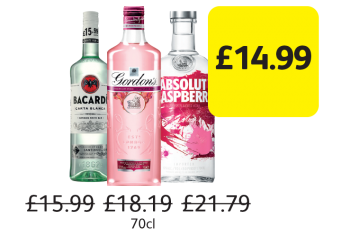 EASTER OFFERS: Bacardi Carta Blanca, Gordon's Pink Gin, Absolut Vodka Raspberri, Was £15.99, £18.19, £21.79 - Now only £14.99 at Londis
