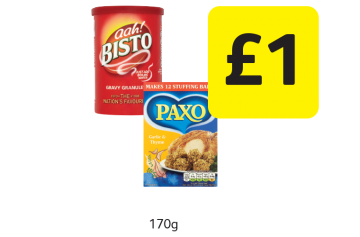 EASTER OFFERS: Bisto, Paxo Stuffing Mix Garlic & Thyme - Only £1 at Londis