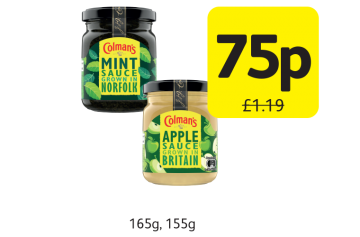 Colmans Sauce Mint, Bramley Apple, Was £1.19 - now only 75p at Londis