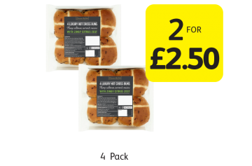 EASTER OFFERS: Discover The Taste Luxury Hot Cross Buns - 2 for £2.50 at Londis
