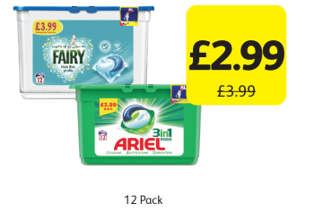 Fairy Non Bio Pods, Ariel 3 In 1 Pods, Was £3.99 - Now only £2.99 at Londis