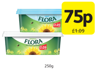 Flora Original, Light, Was £1.09 - Now only 75p at Londis