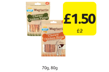 Good Boy Wagtastic Chewy Chicken Strips, Twists, Was £2 - Now Only £1.50 at Londis