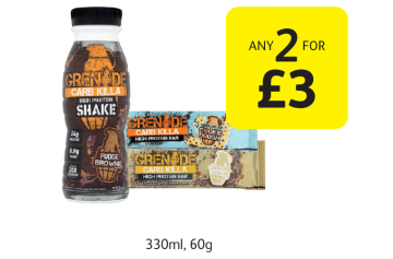 Grenade Carb Killa Protein Shake, Protein Bar - Any 2 for £3 at Londis