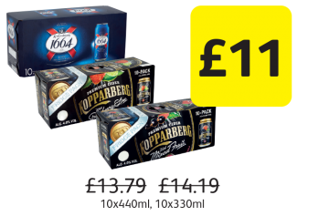 Kronenbourg, Kopparberg Mixed Fruit, Strawberry & Lime, Was £13.79, £14.19 - Now only £11 at Londis