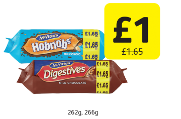 McVitie's Chocolate Hobnobs Milk, Chocolate Digestives, Was £1.65  - Now only Only £1 at Londis