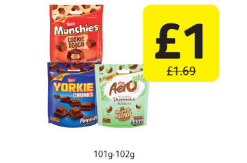 Munchies Original, Yorkie Chunks, Aero Bubbles,  Was £1.69 - Now only £1 at Londis