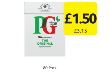PG Tips Tea Bags, Was £3.15 - Now only £1.50 at Londis