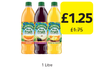 Robinsons No Added Sugar Squash, Was £1.75 - Now only £1.25 at Londis