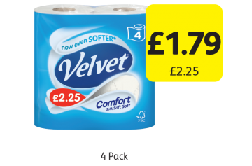 Velvet Comfort Toilet Tissue, Was £2.25 - Now only £1.79 at Londis